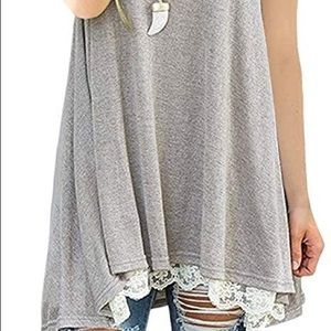 Tops - Women's plus size tunic with lace Edge xl